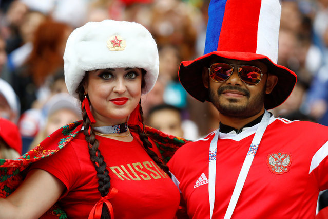Russia fans before the Russia 2018 World Cup Group A football match between Russia and Saudi Arabia at the Luzhniki Stadium in Moscow on June 14, 2018. (Photo by Kai Pfaffenbach/Reuters)