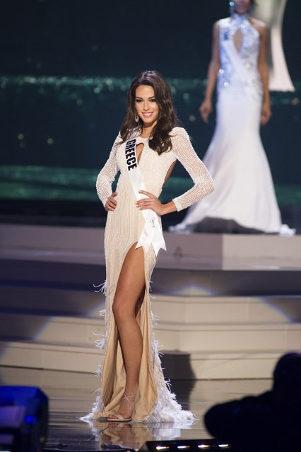 Ismini Dafopoulou, Miss Greece 2014 competes on stage in her evening gown during the Miss Universe Preliminary Show in Miami, Florida in this January 21, 2015 handout photo. (Photo by Reuters/Miss Universe Organization)