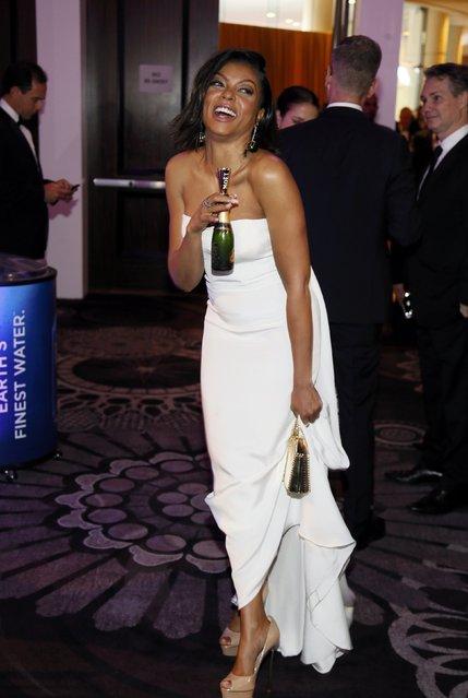 Actress Taraji P. Henson walks to the ballroom as she arrives at the 73rd Golden Globe Awards in Beverly Hills, California January 10, 2016. (Photo by Danny Moloshok/Reuters)