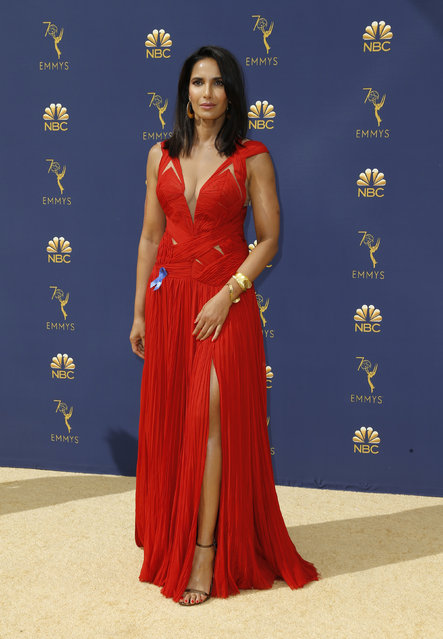 Padma Lakshmi arrives at the 70th Primetime Emmy Awards on Monday, September 17, 2018, at the Microsoft Theater in Los Angeles. (Photo by Kyle Grillot/Reuters)