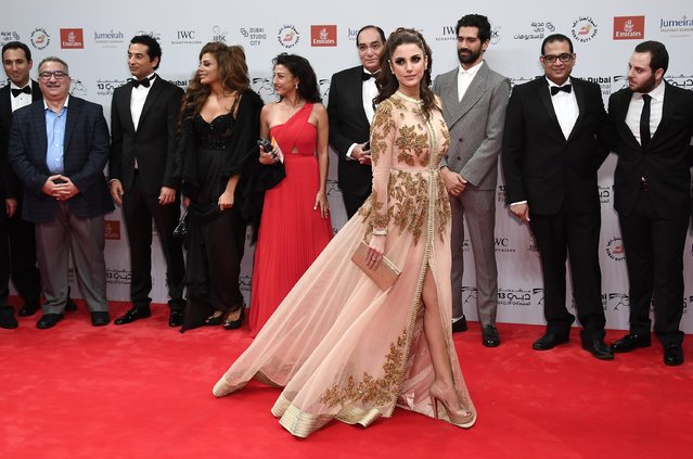 """Actress Dorra attend """"The Preacher"""" red carpet during day four of the 13th annual Dubai International Film Festival held at the Madinat Jumeriah Complex on December 10, 2016 in Dubai, United Arab Emirates. (Photo by Gareth Cattermole/Getty Images for DIFF)"""