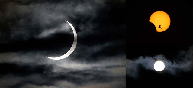 The eclipse is seen, clockwise from left, in Juba, South Sudan; Sidon, Lebanon; and Madrid, Spain. (Photo by Reuters, Associated Press)