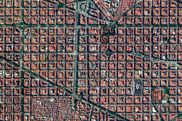 Eixample, Barcelona 41°23′27′′N, 2°09′47′′E. The Eixample district in Barcelona, Spain, is characterised by its strict grid pattern and apartments with communal courtyards. This thoughtful and visionary design was the work of Ildefons Cerdà. His plan features broad streets that widen at octagonal intersections to create greater visibility with increased sunlight, better ventilation, and more space for short-term parking. (Photo by Daily Overview/DigitalGlobe, a Maxar Company)