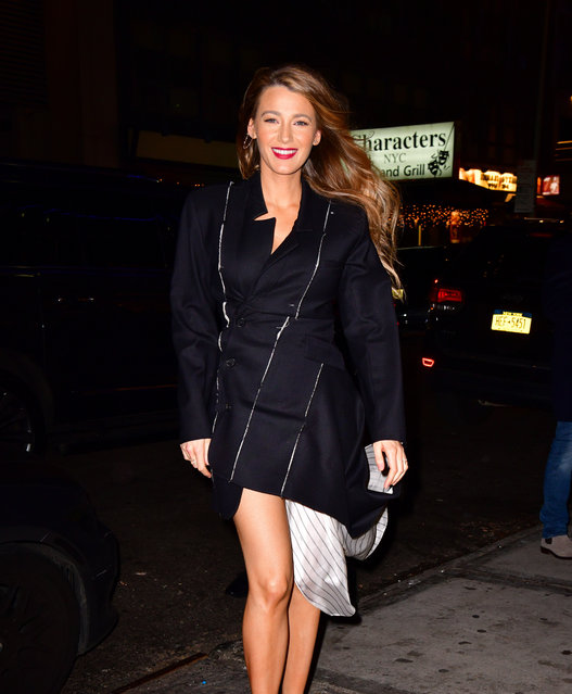 Blake Lively arrives to Feinstein's/54 Below on January 10, 2019 in New York City. (Photo by James Devaney/GC Images)