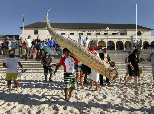 """Peruvian surfer Carlos """"Huevito"""" Areola walks onto the sand carrying his reed board, or """"caballito"""" (little horse), at Sydney's Bondi Beach, February 24, 2016. (Photo by Jason Reed/Reuters)"""
