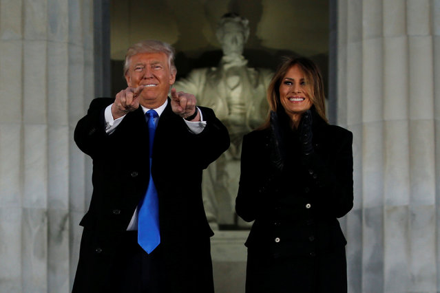 U.S. President-elect Donald Trump and his wife Melania take part in a Make America Great Again welcome concert at the Lincoln Memorial in Washington, U.S. January 19, 2017. (Photo by Jonathan Ernst/Reuters)