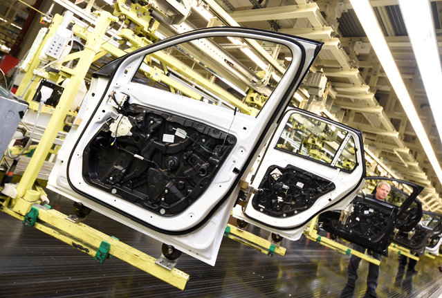 Doors of Mercedes-Benz cars are pictured in a production line at the plant of German carmaker Mercedes-Benz in Bremen, Germany January 24, 2017. (Photo by Fabian Bimmer/Reuters)