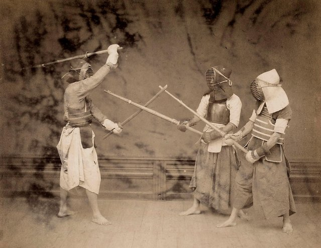 Three men practicing Kendo, discipline derived from the ancient tradition of the Samurai, circa 1885-90. (Photo by Unidentified Author/Alinari via Getty Images)