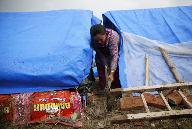 A woman digs a ditch around her tent at a camp for people displaced by the April 25 earthquake in Kathmandu, Nepal, May 7, 2015. (Photo by Olivia Harris/Reuters)