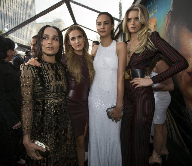 "Cast members (from L-R) Zoe Kravitz, Riley Keough, Courtney Eaton and Abbey Lee pose at the premiere of ""Mad Max: Fury Road"" in Hollywood, California May 7, 2015. (Photo by Mario Anzuoni/Reuters)"