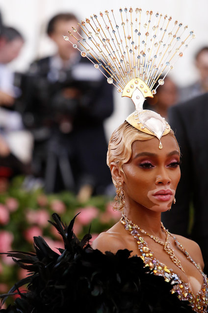 "Winnie Harlow attends the 2019 Met Gala celebrating ""Camp: Notes on Fashion"" at the Metropolitan Museum of Art on May 06, 2019 in New York City. (Photo by Andrew Kelly/Reuters)"