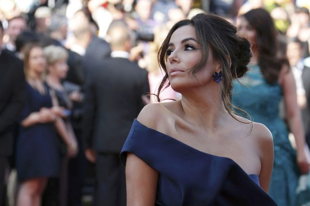 "Actress Eva Longoria poses on the red carpet as she arrives for the screening of the film ""Carol"" in competition at the 68th Cannes Film Festival in Cannes, southern France, May 17, 2015. (Photo by Regis Duvignau/Reuters)"