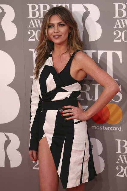 Model Abbey Clancy arrives for the Brit Awards at the O2 Arena in London, Britain, February 22, 2017. (Photo by Neil Hall/Reuters)