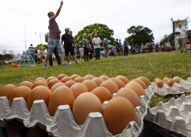 Competitors throw eggs during the World Egg Throwing Championships and Vintage Day in Swaton, Britain June 28, 2015. (Photo by Darren Staples/Reuters)