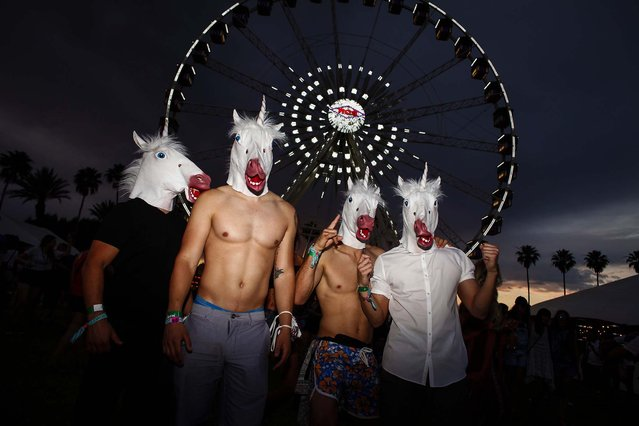 A group of horse-headed young men attend he second weekend of the Coachella Valley Music and Arts Festival. (Photo by Jay L. Clendenin/Los Angeles Times/MCT)