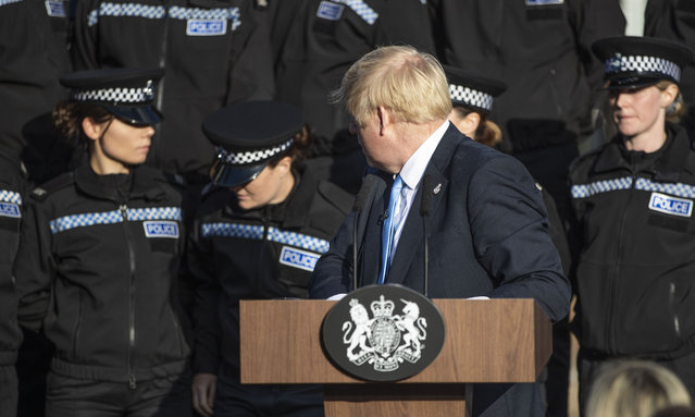 Prime Minister Boris Johnson gives a speech to police officers during a visit on September 05, 2019 in West Yorkshire, United Kingdom. The government promised £750 million in yesterday's spending review to fund the first year of a plan to recruit an extra 20,000 police officers. (Photo by Danny Lawson – WPA Pool/Getty Images)
