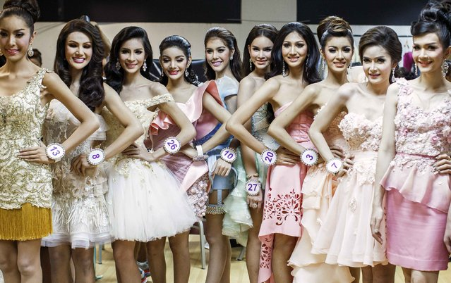 Contestants pose backstage before the final event of the competition. (Photo by Athit Perawongmetha/Reuters)