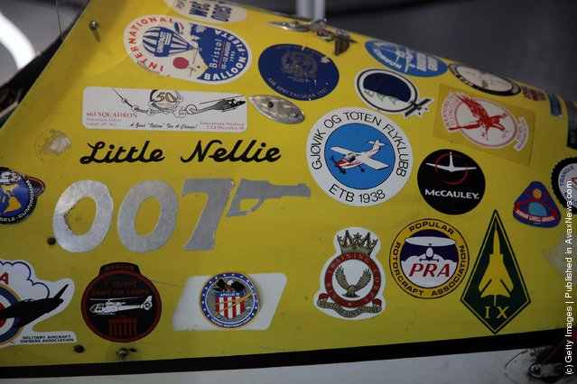 Period stickers on the Little Nellie autogyro that was used in the 1967 James Bond film You Only Live Twice and is currently being displayed at the Bond In Motion exhibition