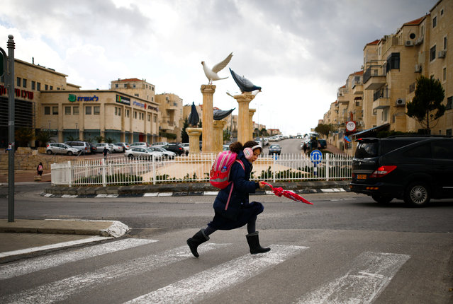A girl crosses a pedestrian crossing in the Israeli settlement of Beitar Illit in the occupied West Bank February 15, 2017. (Photo by Amir Cohen/Reuters)