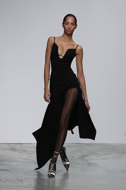 A model wears a creation as part of the Mugler Ready To Wear Spring-Summer 2020 collection, unveiled during the fashion week, in Paris, Wednesday, September 25, 2019. (Photo by Francois Mori/AP Photo)