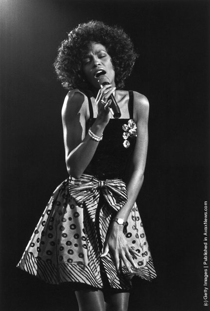 American pop singer Whitney Houston performing, 1988