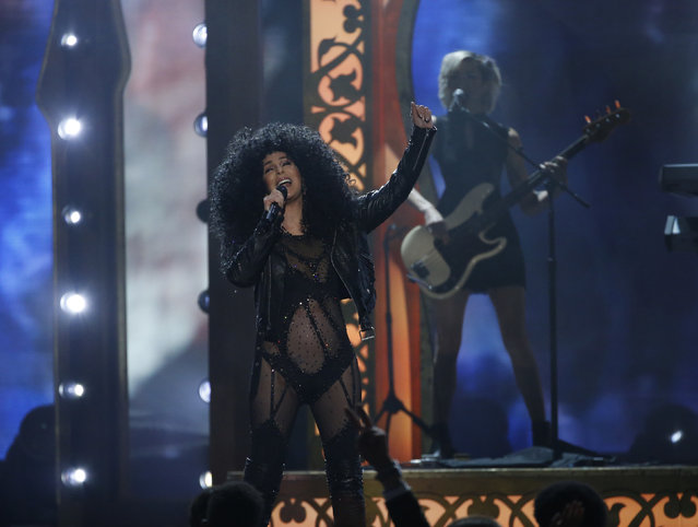"""Cher performs """"If I could Turn Back Time"""" onstage during the 2017 Billboard Music Awards at T-Mobile Arena on May 21, 2017 in Las Vegas, Nevada. (Photo by Mario Anzuoni/Reuters)"""