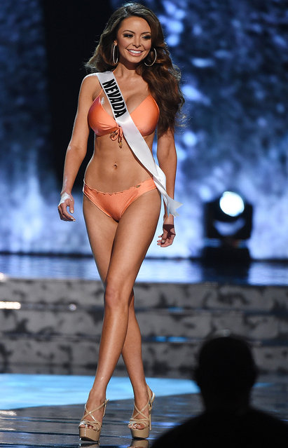 Miss Nevada USA Emelina Adams competes in the swimsuit competition during the 2016 Miss USA pageant preliminary competition at T-Mobile Arena on June 1, 2016 in Las Vegas, Nevada. (Photo by Ethan Miller/Getty Images)
