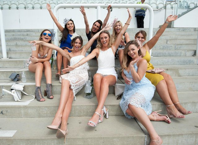 Race goers are pictured during the Investec Ladies Day at Epsom Downs Racecourse on June 2, 2017 in Epsom, England. (Photo by News Group Newspapers Ltd)