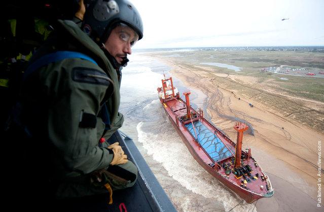 The cargo ship TK Bremen, stranded on Kerminihy beach at Erdeven, near Lorient, France, on December 16, 2011