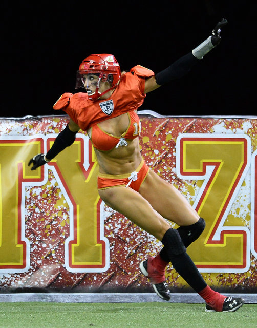 Cynthia Schmidt #18 of the Las Vegas Sin celebrates after scoring a touchdown against the Green Bay Chill during their game at the Thomas & Mack Center on May 15, 2014 in Las Vegas, Nevada. Las Vegas won 34-24.  (Photo by Ethan Miller/Getty Images)