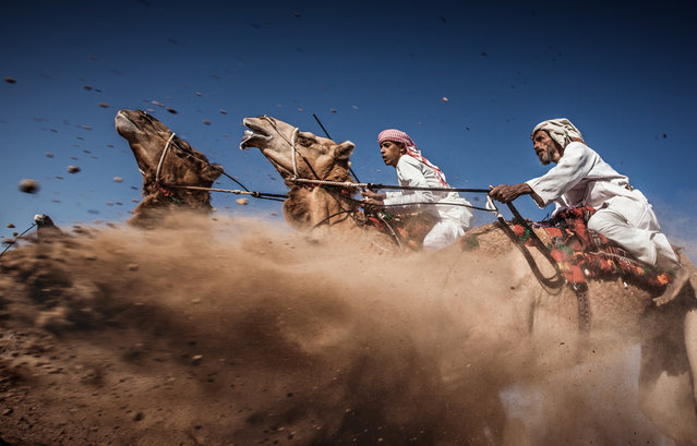 Third Place: Camel Ardah. As it called in Oman, its one of the traditional styles of camel racing between two camels controlled by expert men, the faster camel is the loser one, so they must be running by the same speed level in the same track. (Photo and caption by Ahmed Al Toqi/National Geographic Traveler Photo Contest)