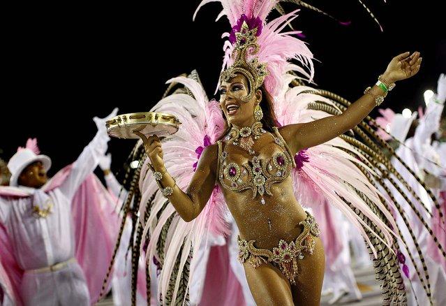 A dancer from the Mangueira samba school performs in Rio de Janeiro, Brazil