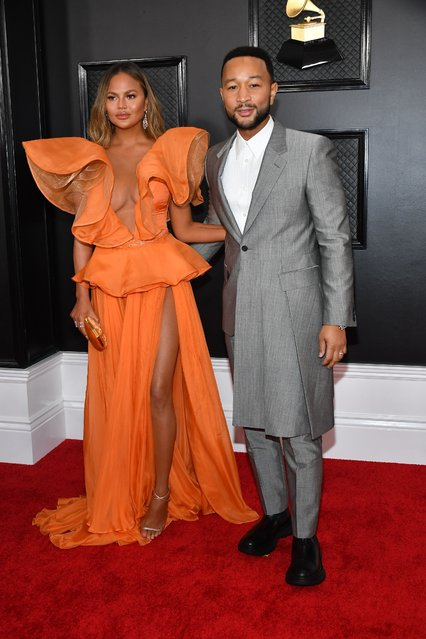 Chrissy Teigen and John Legend attends the 62nd Annual GRAMMY Awards at Staples Center on January 26, 2020 in Los Angeles, California. (Photo by Amy Sussman/Getty Images)