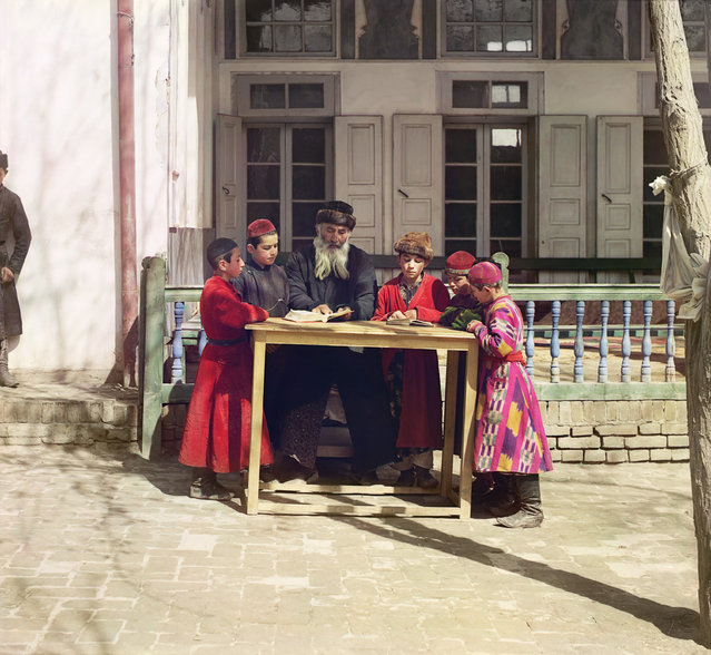 Photos by Sergey Prokudin-Gorsky. Group of Jewish children with a teacher. Samarkand. Russia, Samarkand region, 1911 (Restored)