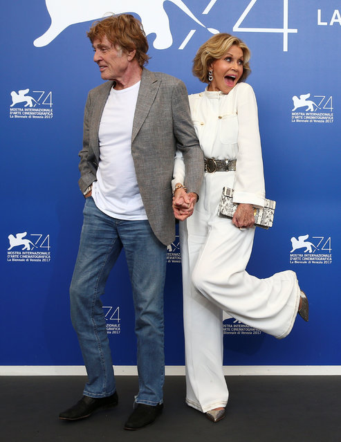 Actors Jane Fonda and Robert Redford pose during a photocall for the movie Our Souls at Night in Venice, Italy on September 1, 2017. (Photo by Alessandro Bianchi/Reuters)