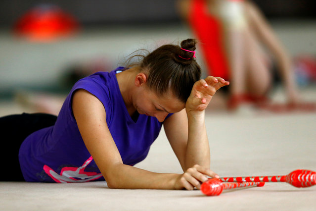 Belarussian rhythmic gymnast Melitina Staniouta attends a training session at a sports base as she prepares for the 2016 Rio Olympics in Minsk, May 26, 2016. (Photo by Vasily Fedosenko/Reuters)