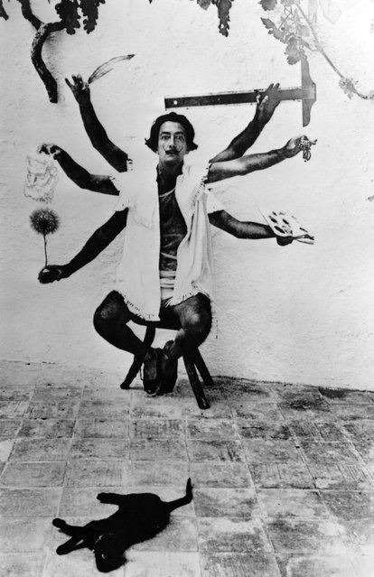 Spanish artist Salvador Dali, (1904–1989), one of the principal figures of the Surrealist Movement, in a multiple exposure pose at his home in Cadaques on the Spanish Costa Brava, 1955. (Photo by Charles Hewitt)