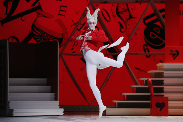 The Australian Ballet rehearses Alice's Adventures in Wonderland at Melbourne Arts Centre on September 11, 2017 in Melbourne, Australia. Adam Bull as the White Rabbit on stage. (Photo by Michael Dodge/Getty Images)