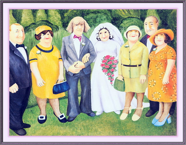 Wedding Photograph. Artwork by Beryl Cook