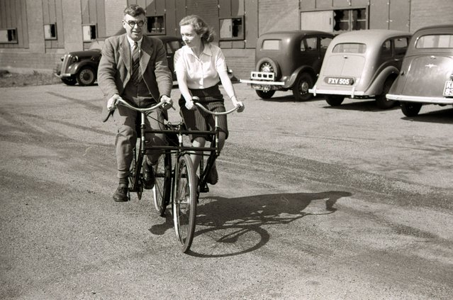 Handout photo issued by Easyart of an experimental tandem bicycle as an archive of weird and wacky innovations has been unearthed by an amateur historian as he trawled through a collection of images spanning the last 100 years. (Photo by Easyart/PA Wire)