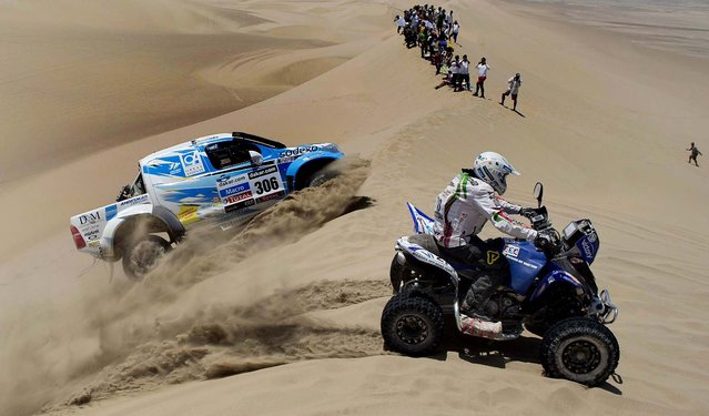 Totoya's Lucio Alvarez and co-driver Bernardo Graue of Argentina, left, and Yamaha's Todor Hristov of Bulgaria compete in the 1st stage. (Photo by Victor R. Caivano/Associated Press)