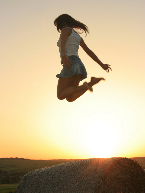 """Jumpology"". ""Jumping over sunset"". (Photo by wunderskatz)"