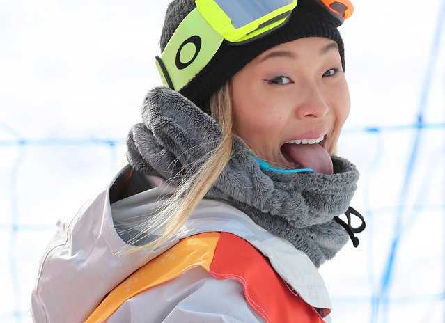 Chloe Kim of the U.S. reacts after her run in the Women's Snowboarding Halfpipe at the Phoenix Park during the Pyeongchang 2018 Winter Olympic Games on February 12, 2018 in Pyeongchang. (Photo by Mike Blake/Reuters)