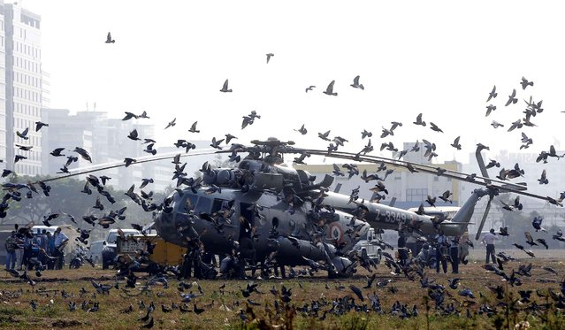 Pigeons flying after an Indian Air Force helicopter made an emergency landing at the Bandra Kurla complex ground in Mumbai, India, Wednesday, October 21, 2015. According to local reports, the helicopter developed a technical snag following which it made the emergency landing. (Photo by Rajanish Kakade/AP Photo)