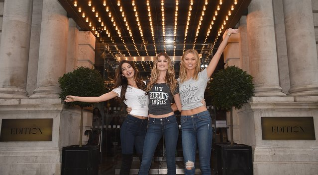 Victoria's Secret models Lily Aldridge, Behati Prinsloo and Karlie Kloss attend Victoria's Secret Angels at The London Edition Hotel on December 1, 2014 in London, England. (Photo by Dimitrios Kambouris/Getty Images for Victoria's Secret)