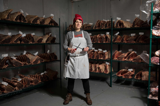 Heather Marold Thomason, butcher and founder of Primal Supply Meats, poses for a picture in her company's dry-aging room on March 2, 2018, in Lansdowne, Pennsylvania. (Photo by Dominick Reuter/AFP Photo)