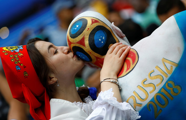 A Russia fan with body paint before the Russia 2018 World Cup Group A football match between Russia and Saudi Arabia at the Luzhniki Stadium in Moscow on June 14, 2018. (Photo by Kai Pfaffenbach/Reuters)