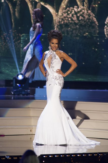 Brittany Mesa-Bell, Miss Guam 2014 competes on stage in her evening gown during the Miss Universe Preliminary Show in Miami, Florida in this January 21, 2015 handout photo. (Photo by Reuters/Miss Universe Organization)