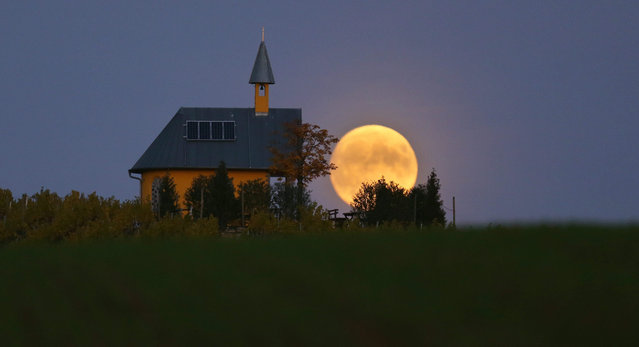 The full moon rises behind a chapel near Bergtheim, Germany, 26 October 2015. (Photo by Karl-Josef Hildenbrand/EPA)