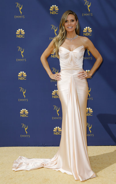 Heidi Klum arrives at the 70th Primetime Emmy Awards on Monday, September 17, 2018, at the Microsoft Theater in Los Angeles. (Photo by Kyle Grillot/Reuters)